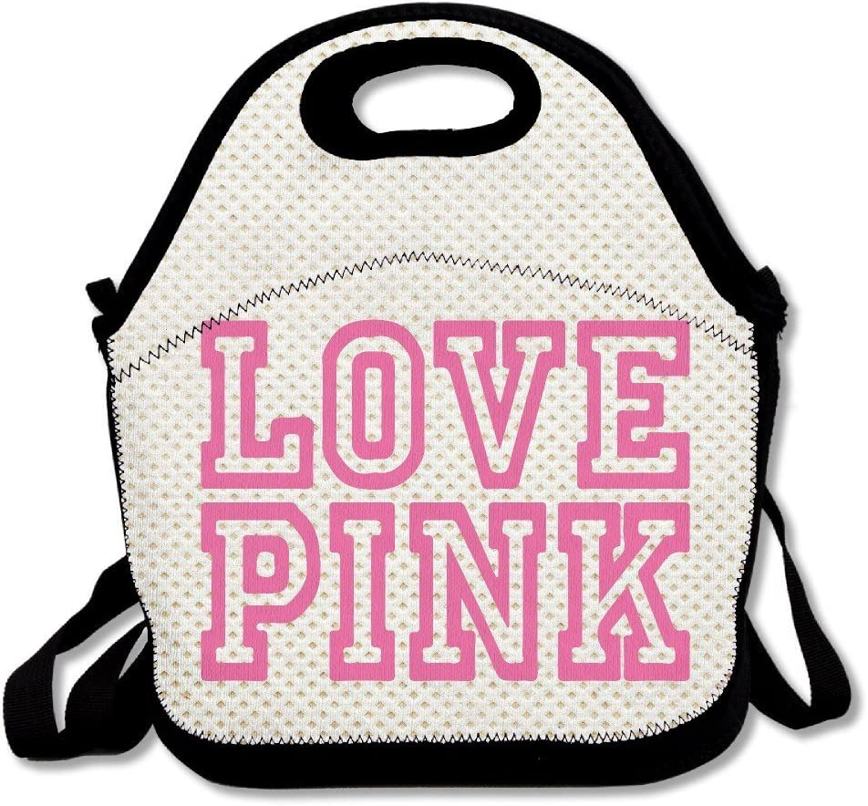 JUCHen Love Pink Insulated Personalized Tote Lunch Food Bag