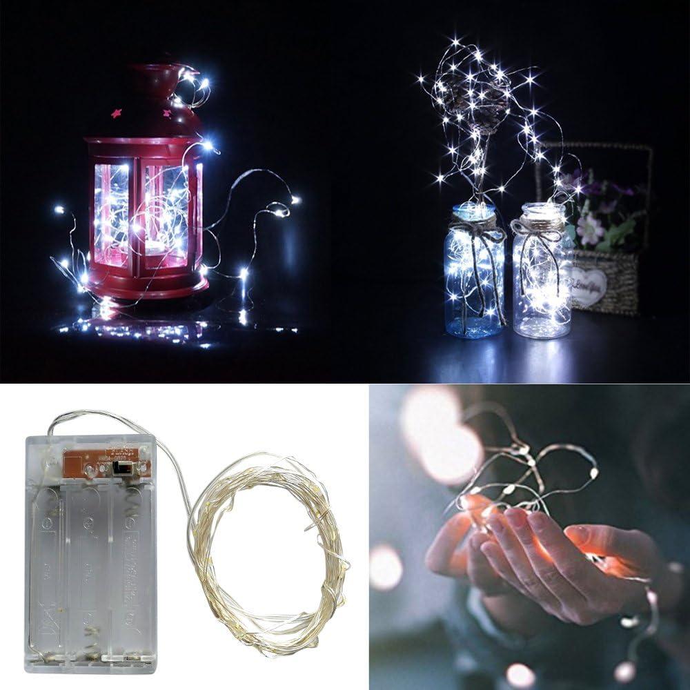 30er Kaltes Wei/ß BXROIU 2 x 30er Micro LED Lichterkette Batterie betrieb und 2 Programm Auf 3 Meter Silberdraht f/ür Party Beleuchtung Deko Weihnachten Hochzeit Garten Halloween