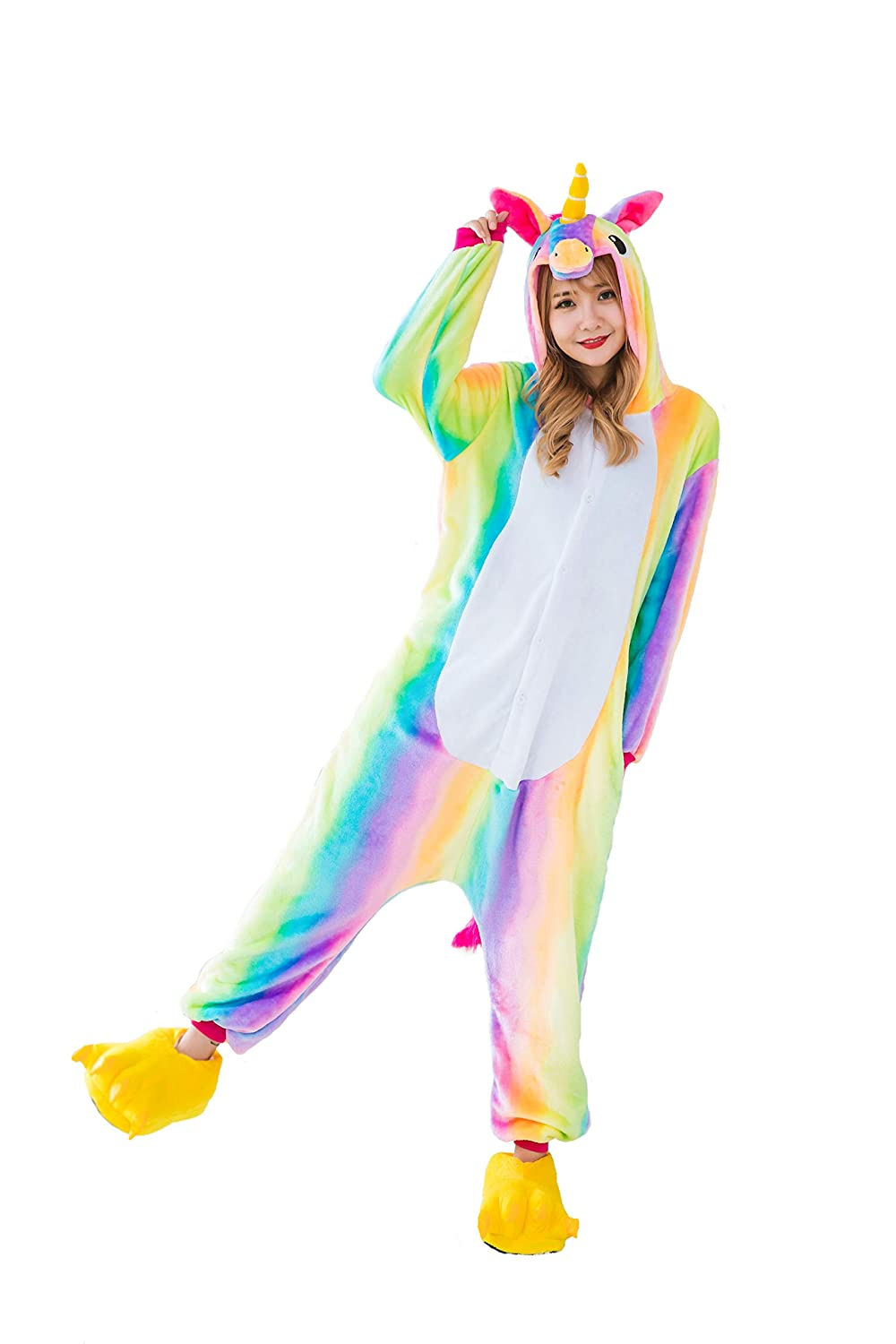Hycomell Unicorn Onesie Pajamas Winter Warm Soft Flannel Pyjamas 3D Cartoon Animal Style Costume Hooded Jumpsuit for Women Girls Cosplay Idear Gift in Chrismas Halloween Novelty Costume Ahaoshuiyi