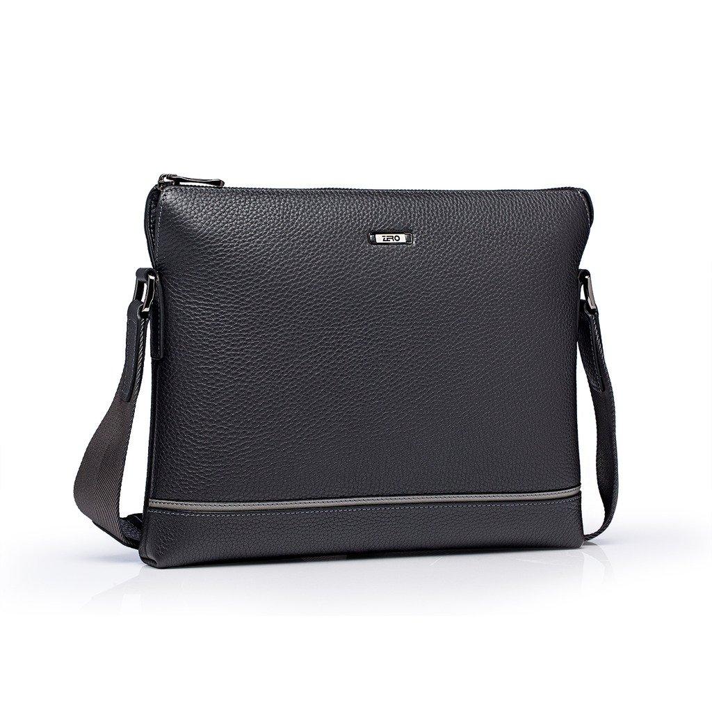 ZRO Men's Genuine Leather Business Messenger Crossbody Shoulder Bag Horizontal Grey