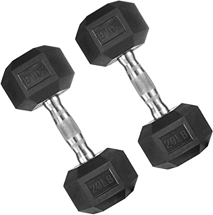 Pair 20 lb Black Rubber Coated Hex Dumbbells Weight Training Set 40 lb Fitness