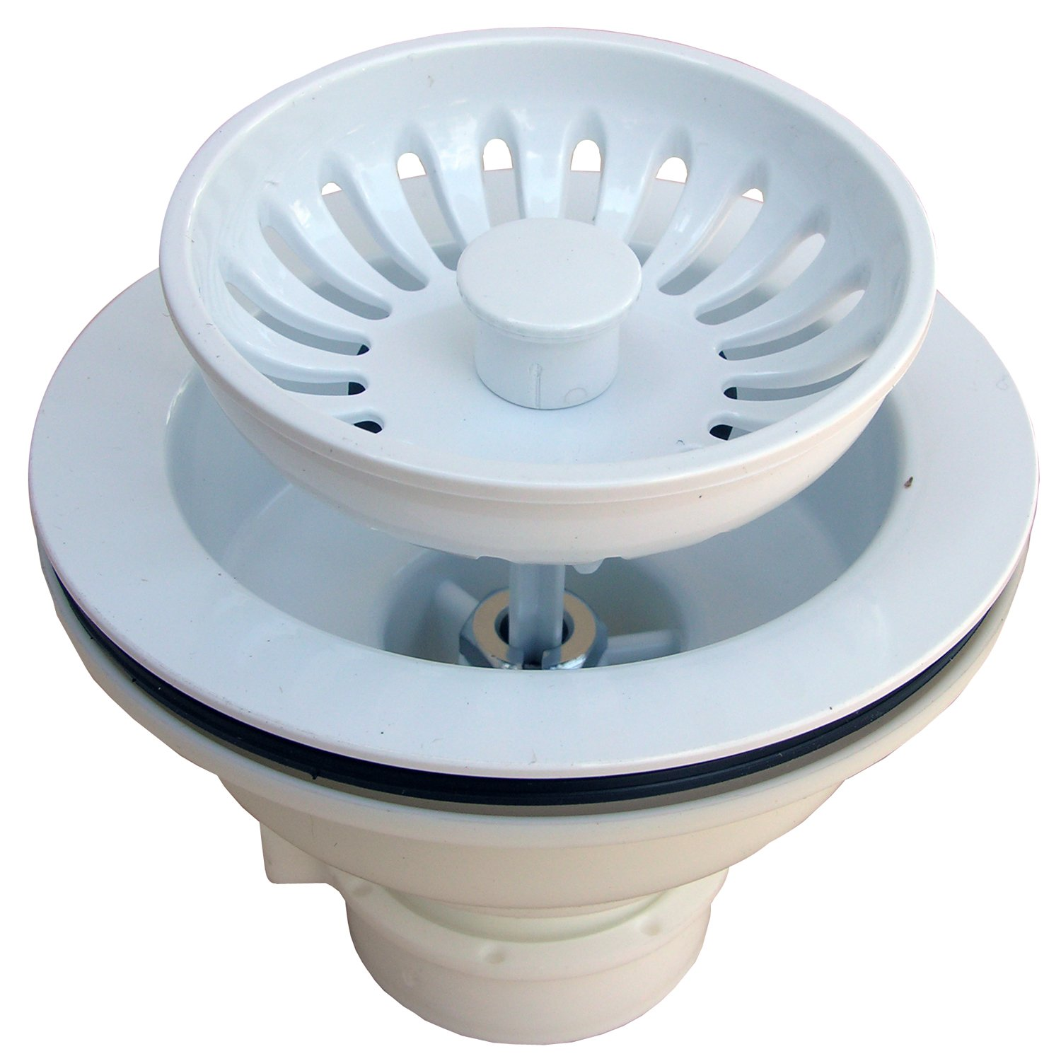 LASCO 03 1059W Heavy Duty PVC Body Kitchen Sink Basket Strainer