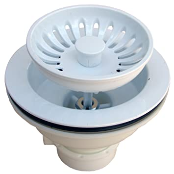 LASCO 03-1059W Heavy Duty PVC Body Kitchen Sink Basket Strainer ...