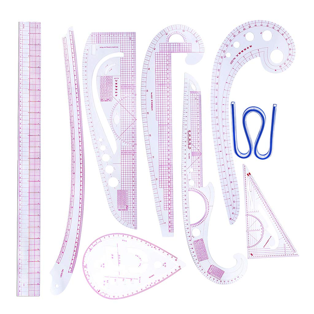 SM SunniMix 9Pcs French Curve Ruler Set DIY Sewing Pattern Measuring Tool for Dressmaker