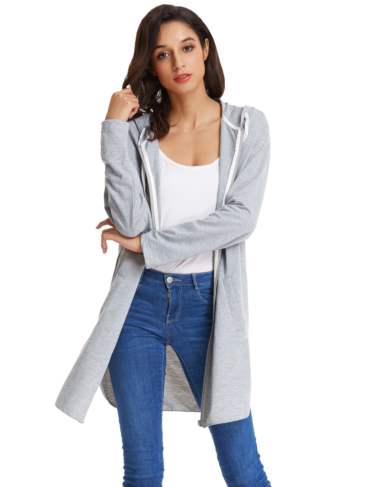 GRACE KARIN Women's Casual Street Style Hoodie Uniform Coat Jackets (XL,Light Grey) by GRACE KARIN