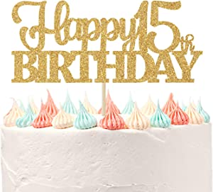 Happy 15th Birthday Cake Topper, Cheers to 15 Years, Hello 15, 15th Birthday Anniversary Party Decor Gold Glitter.