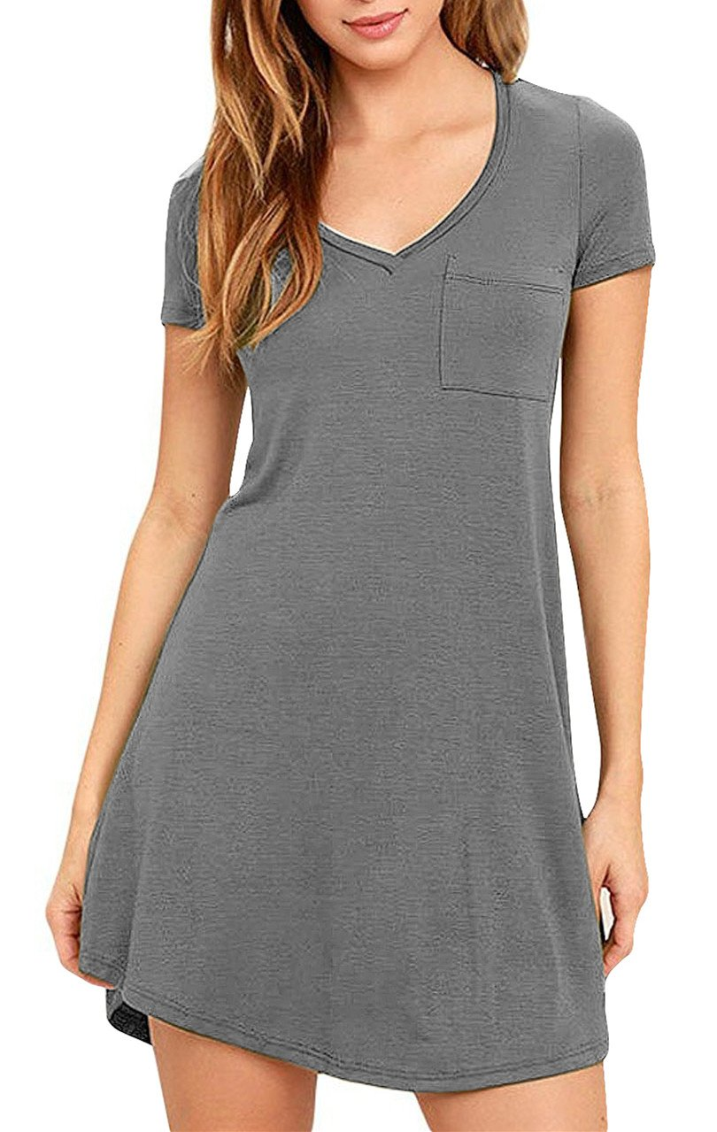 Eanklosco Women's Casual Dress V Neck Short Sleeve T Shirt Dress with Pockets (XL/UK 14, Grey-Short Sleeve)