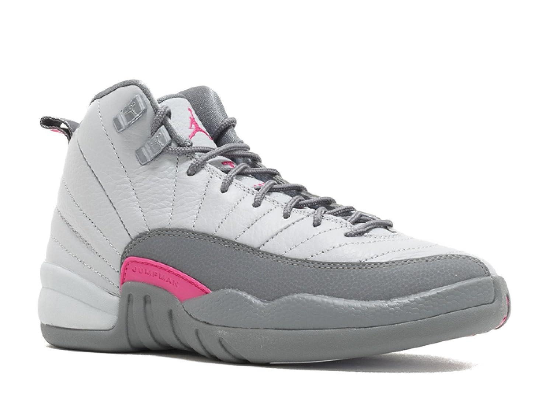 huge discount 1ce96 cd5a4 Amazon.com   Jordan Big Kids Girls  Air Jordan 12 Retro (GS) (Grey Wolf  Grey Vivid Pink-Cool Grey) Size 9.5 US   Basketball