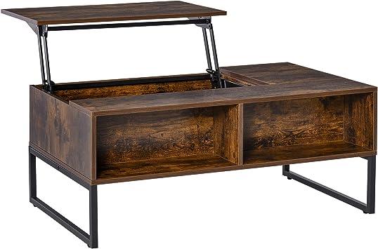 HOMCOM Table Basse rectangulaire Style Industriel tiroir 2 niches