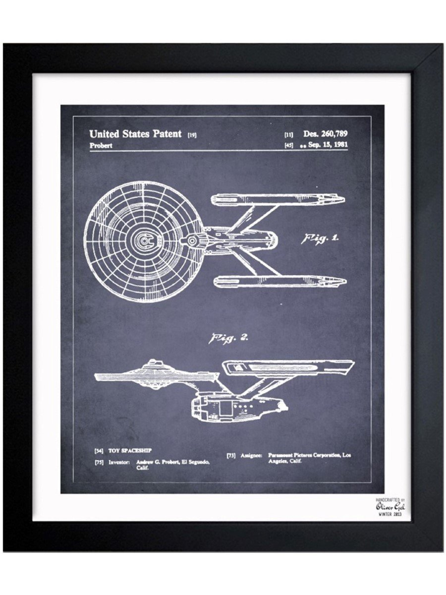 Amazon.com: Enterprise 1981 Vintage Framed Wall Art Print for Home decor & Office. The Movie Wall Decor Blueprint Collection by Oliver Gal Hand Framed and ...