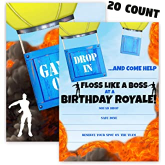 #1 POP parties Battle Gaming Party Invitations - 20 Invitations + 20 Envelopes - Double Sided -