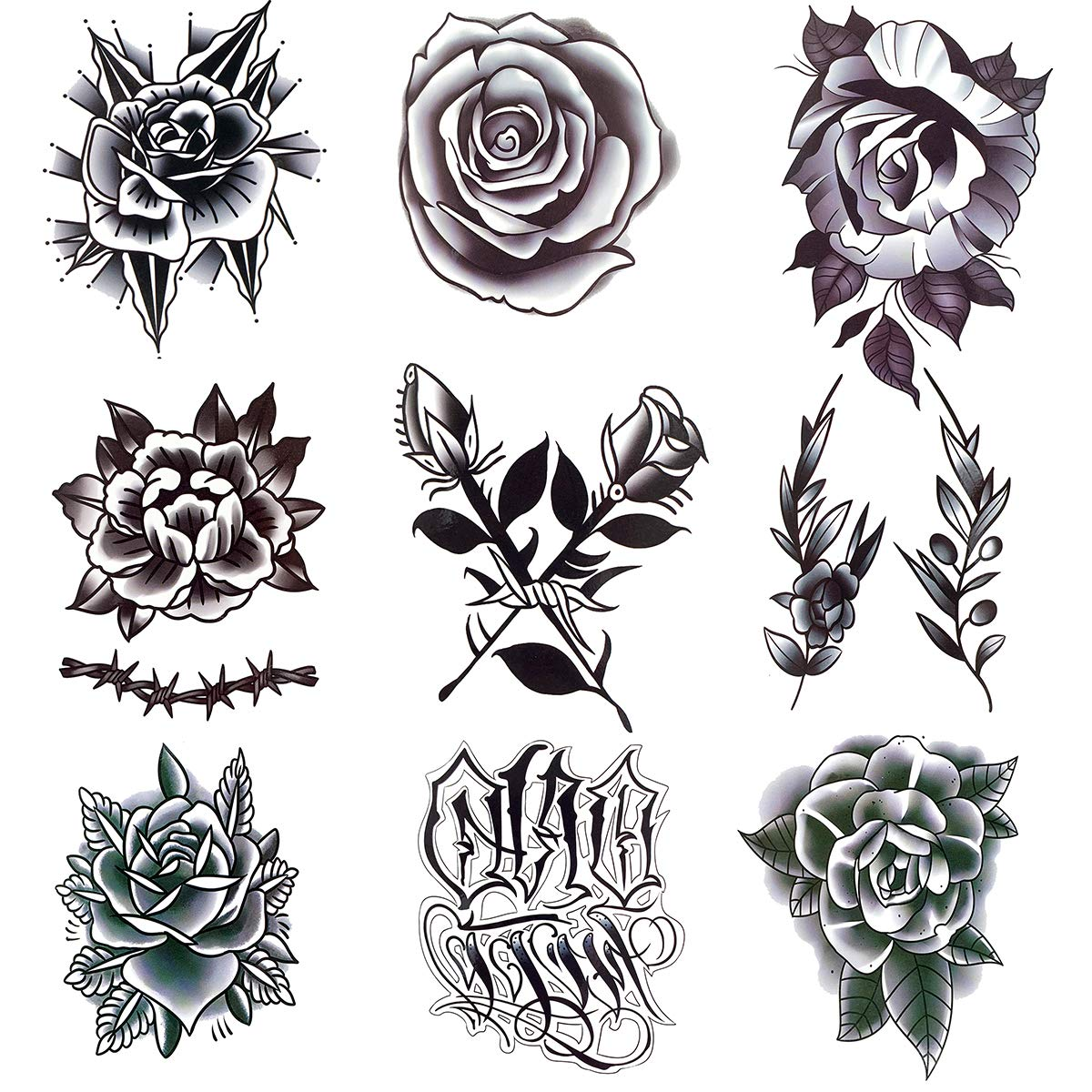 Oottati Waterproof 9 Sheets Back of Hand Fake Temporary Tattoo Stickers - Black Gothic Flower Rose