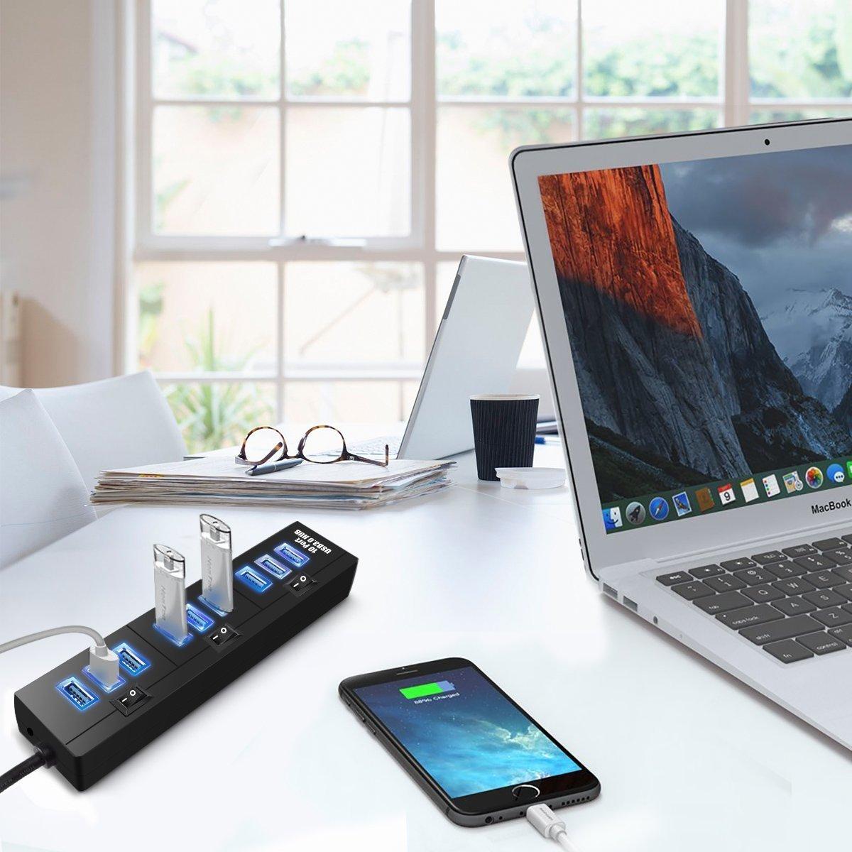 10 Puertos USB 3.0 Hub, ELEGIANT Alta Velocidad USB Switch Concentrador De Datos 3.0 10 Adaptador De Puerto Concentrador De Potencia De Transmisión 5Gbps ...
