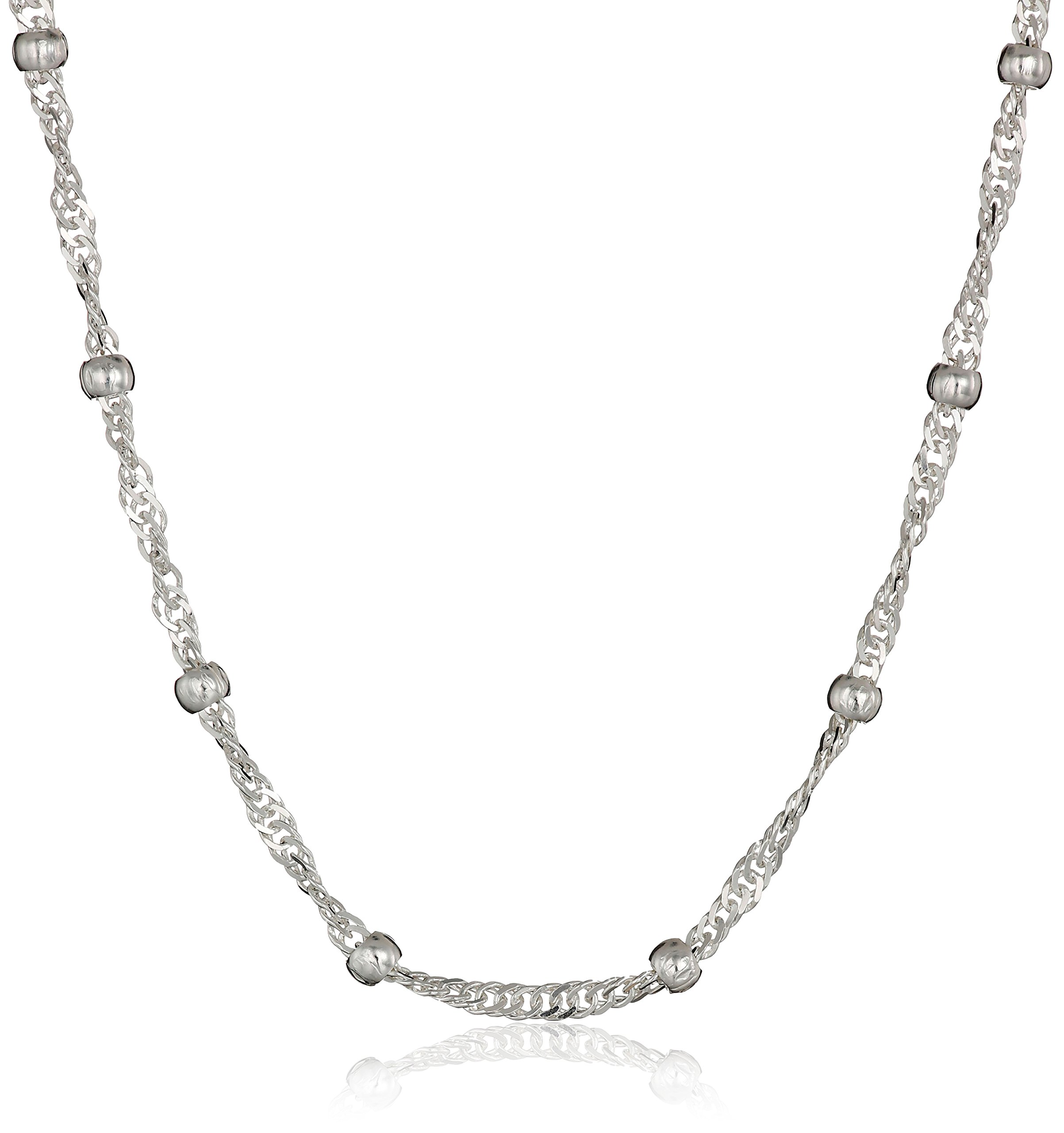 Sterling Silver 1.5mm Singapore with 2mm Bead Station Chain Necklace, 16''