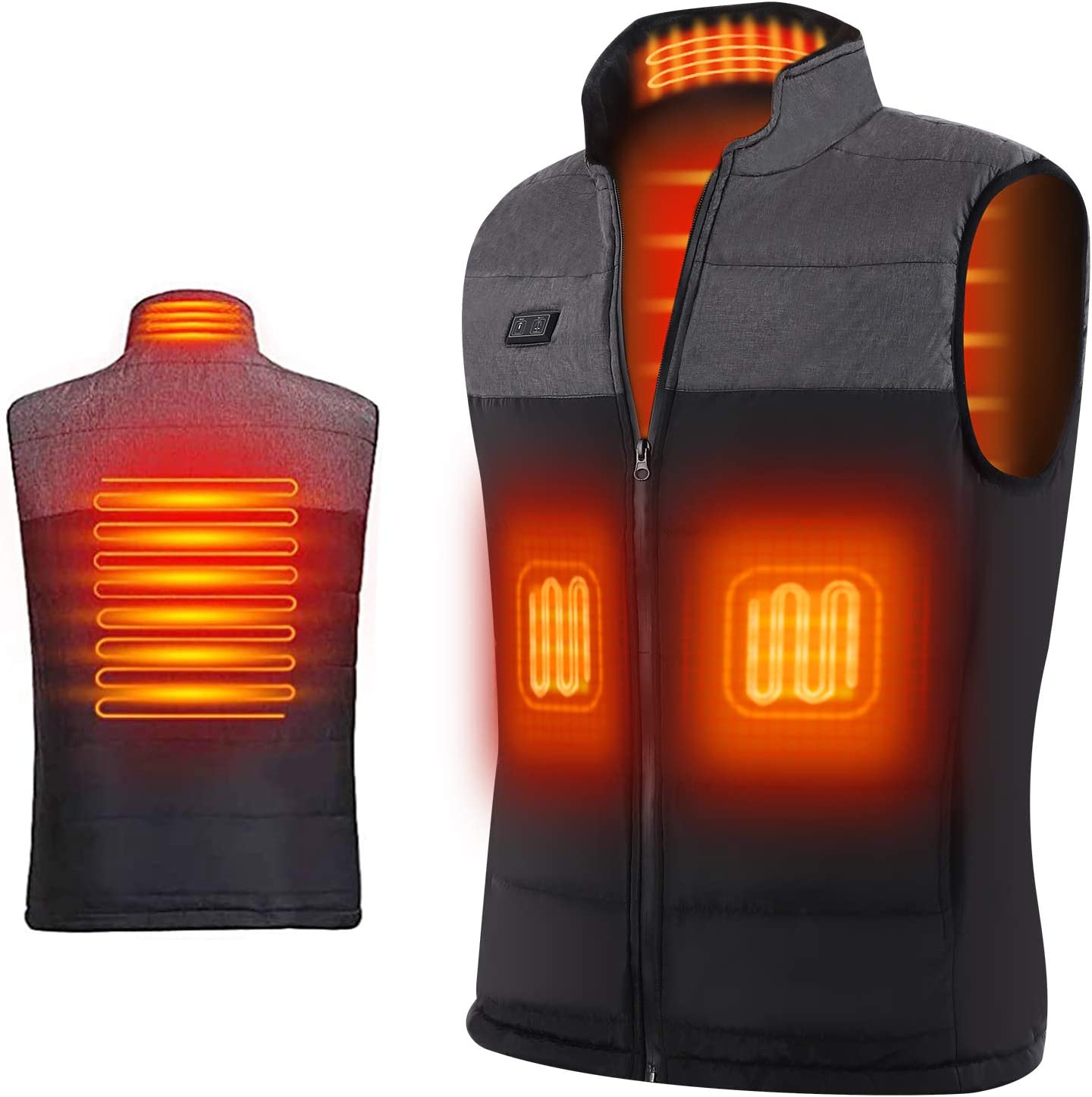 2019 Warm Padded Jacket Heated Vest for Men Smart Adjustable USB Charging Warm Men Heating Vest for Winter Outdoor Sports Skating Skiing Large Size Black-M