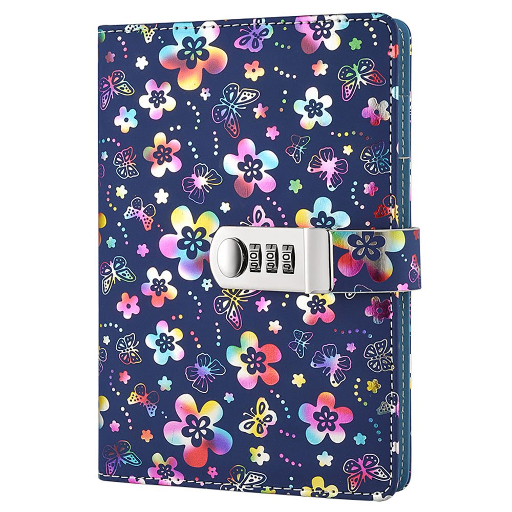 Nainaiwu Journal Notebook Record Diary with lock Beautiful Flower PU Leather Cover Writing Notepad A5 Size Book Travel Journal for Girls and Boys. (Colorful flower)