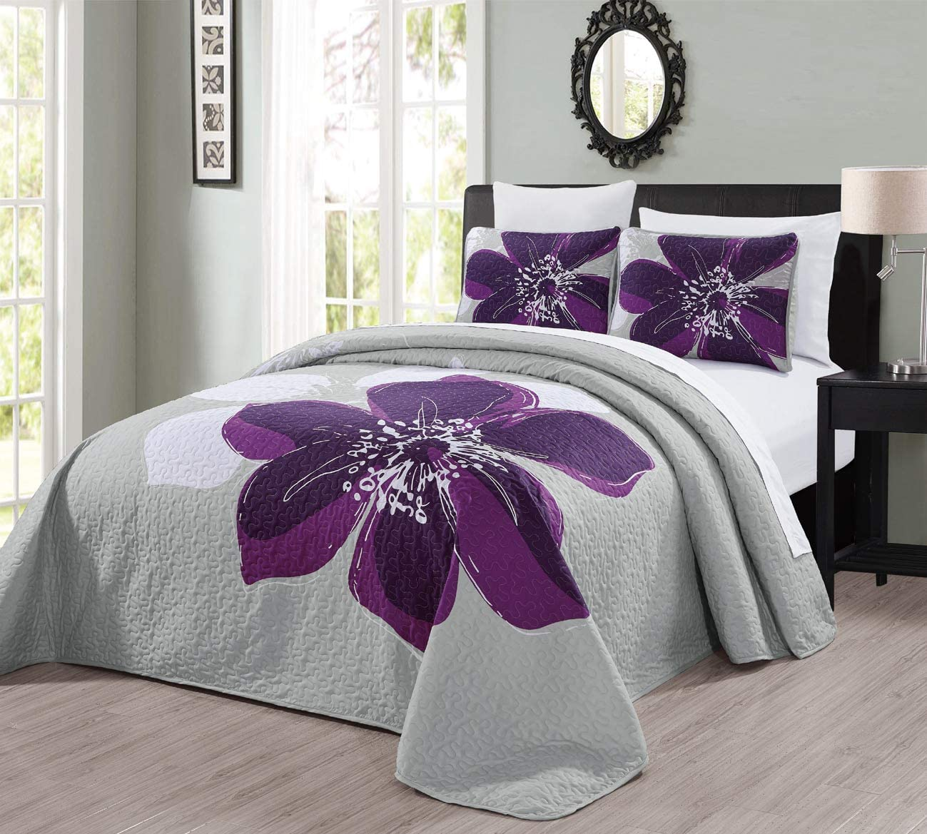 "3-Piece Fine Printed (90"" X 88"") Quilt Set Reversible Bedspread Coverlet (Double) Full Size Bed Cover (Dark Purple, Grey, White Hibiscus Floral)"
