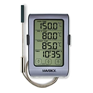 Maverick Dual Sensor Oven Roasting Digital Thermometer/Timer Thermometer for Oven, Grill, and Smoker with Dual-Sensor Grey/Black