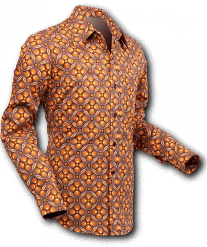 Vintage Shirts – Mens – Retro Shirts 70s retro Shirt Dotsgrid brown-brown Retro 70s retro £39.41 AT vintagedancer.com