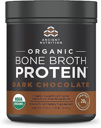 Ancient Nutrition Organic Bone Broth Protein Powder, Dark Chocolate Flavor, 17 Servings Size - Organic, Gut-Friendly, Paleo-Friendly