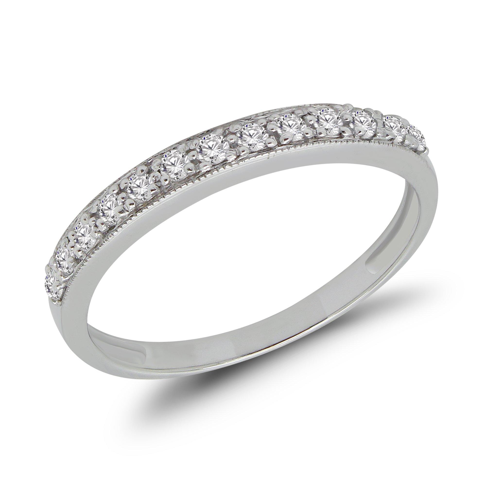 14K White Gold Round 0.20 Ct Diamond Wedding Bands For Women (Size - 7)