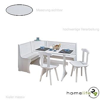 Eckbank Gruppe mit Tisch Bank und 2 Stühle weiß Kiefer massiv ...