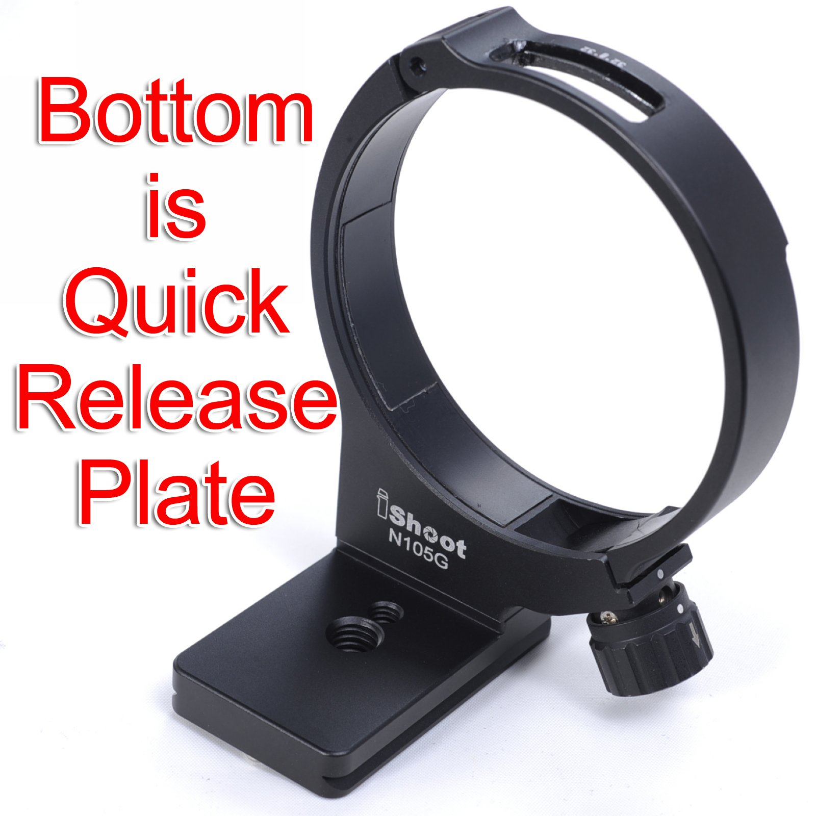 CNC Precisely Machined Aviation Aluminum Lens Support Holder Collar Tripod Mount Ring for Nikon AF-S 105mm f/2.8G IF-ED VR MICRO Macro Lens -Bottom is Camera Quick Release Plate
