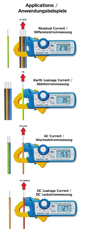 Peak Tech P 1635/Pince amp/èrem/ètre//kriechstrom Pince//diff/érence courant Pince//Pince amp/èrem/étrique dalimentation avec 1/mA R/ésolution 2400/points 2/A//80/A AC DC avec lampe de poche LED et