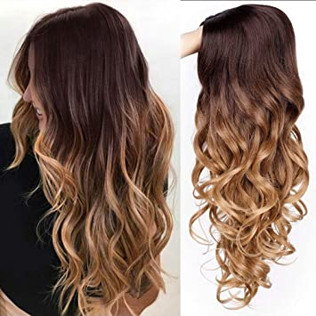 For Queens Ombre Wigs Long Curly Middle Part Wig 2 Tone Reddish Brown Wavy Wigs For Women Synthetic Heat Resistant Cosplay Daily Wigs Natural Looking by Aisi Queens
