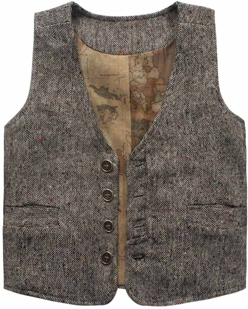 Coodebear Boys Girls Map Lined Pockets Buttons V Collar Vests 2-16 Years