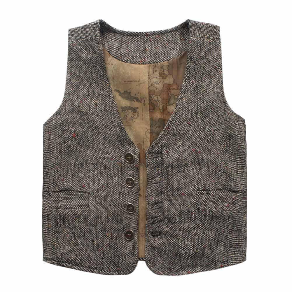 Coodebear Boys' Girls' Letters Lined Pockets Buttons V Collar Vests Grey Size 6T