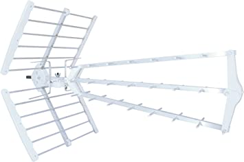 Metronic 415050 - Antena Exterior TDT Triple, Especial recepción difícil, Plegable, Montaje fácil, Compatible 4G, 4K Ready, conexión F, Ganancia 55dB, ...