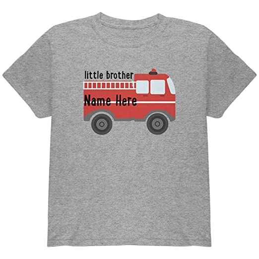 13a9d3c24 Custom Little Brother Fire Truck Add Name Youth T Shirt Heather Youth X-SM