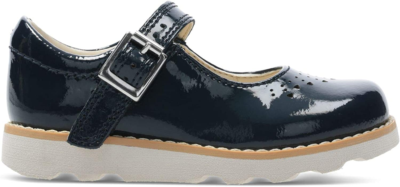 Clarks Crown Jump T, Mocassins Fille Bleu Navy Patent