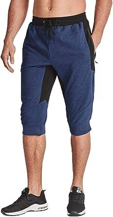 BIYLACLESEN Mens 3//4 Running Pants Gym Workout Breathable Mesh Capri Jogger Shorts