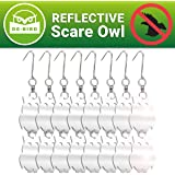 Reflective Bird Repellent Owl - Attractive Decoy Will Keep Woodpeckers and Nuisance Birds Away From Property - Includes Free Expert User Guide - 8 Pack - Save Time & Money on Cleanups and Repairs