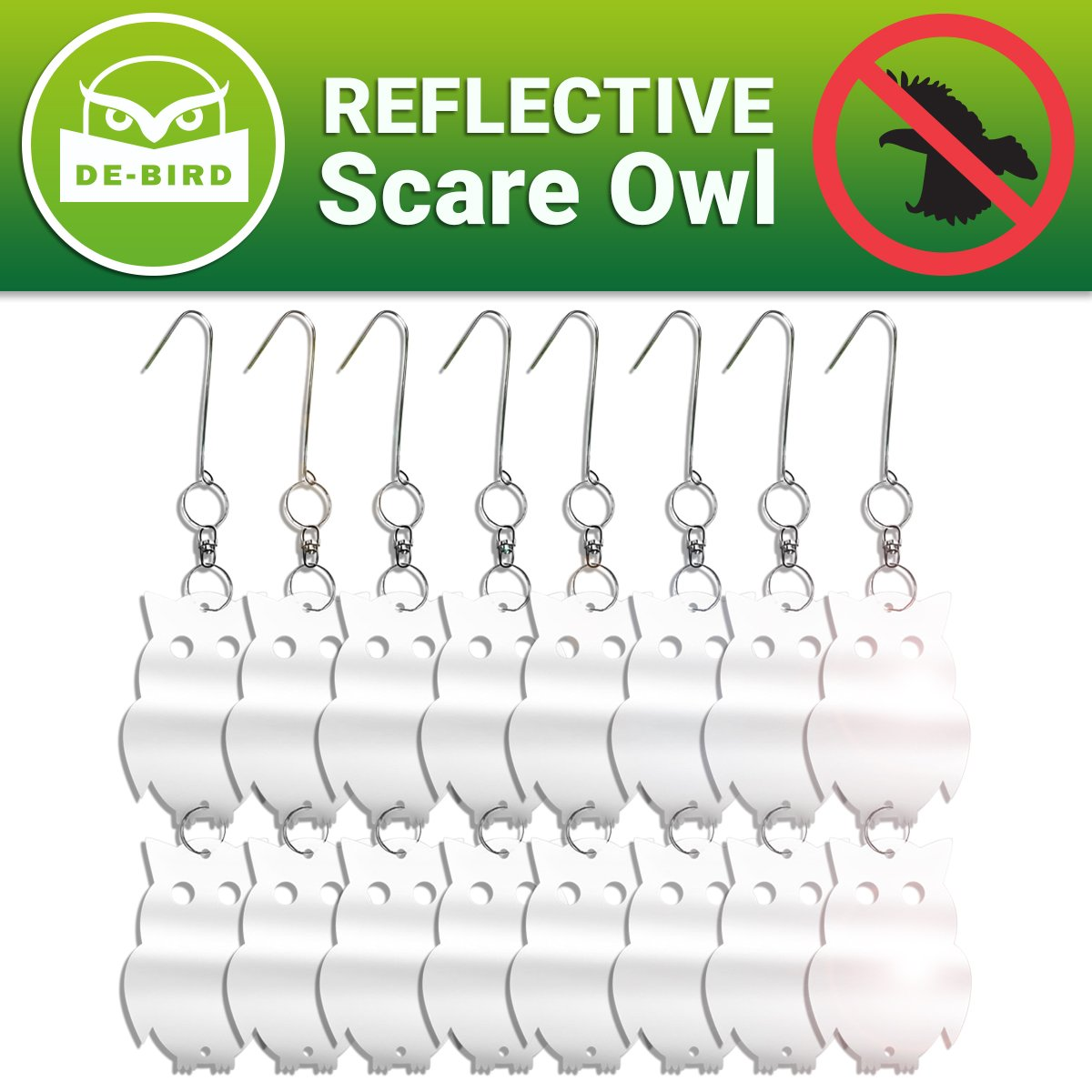 Reflective Bird Repellent Owl - Attractive Decoy Will Keep Woodpeckers and Nuisance Birds Away from Property - Includes Expert User Guide - 8 Pack - Save Time and Money on Cleanups and Repairs