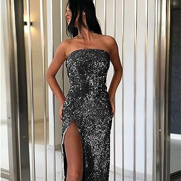 LILIJIA damska sukienka bez ramiączek, długa, cienka, seksowna sukienka z cekinami, na bankiet, na imprezę, studniÓwkę, czarna, XL: Küche & Haushalt