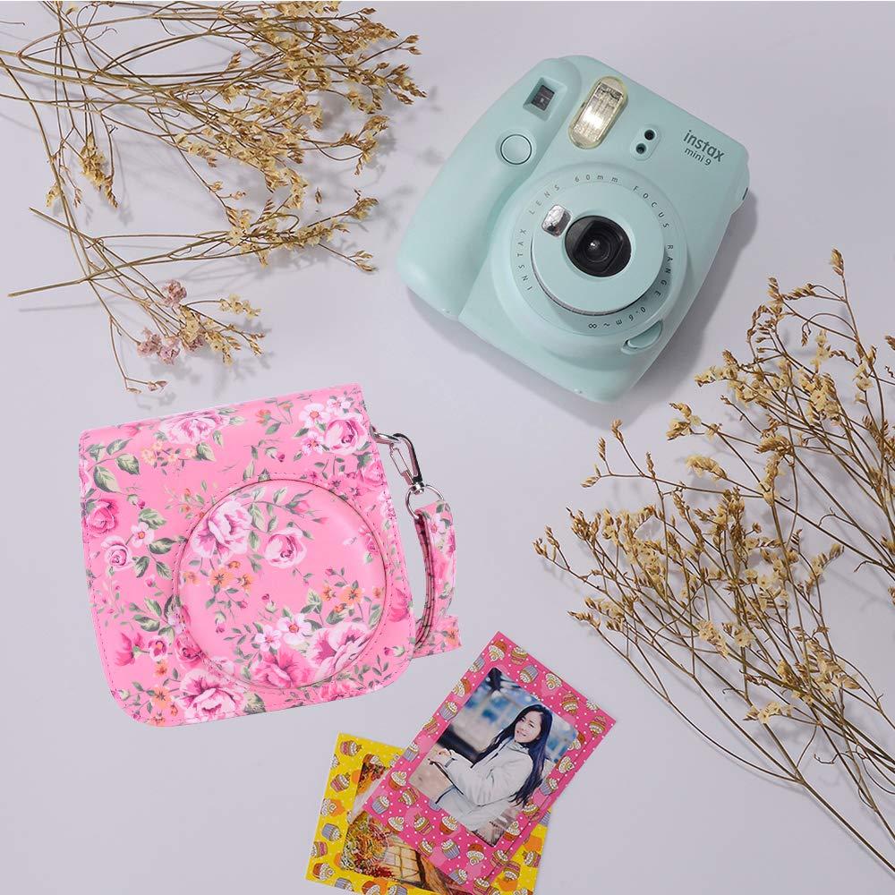 Goocor 15 en 1 Instax Mini 9 Accessoires pour Appareil Photo Fujifilm Instax Mini 9//Mini 8//Mini 8+,Comprend Mini Case 9,Albums,Bandouli/ère Arc-en-Ciel,Lentille Selfie,Stylo ETC Vert Citron