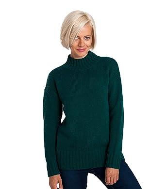85a0c007aa3f WoolOvers Damen Wollpullover mit tiefem Rollkragen Teal, XL  Amazon ...