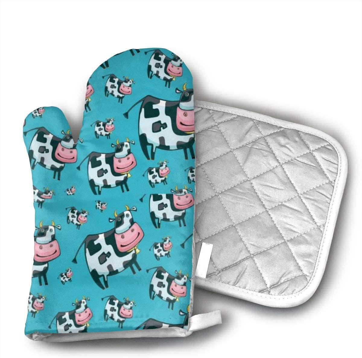 not Cartoon Cow Oven Mitts Microwave,Kitchen Glove Heat Resistant Cook Gloves Mitts for Cooking,Baking,Barbecue Potholder