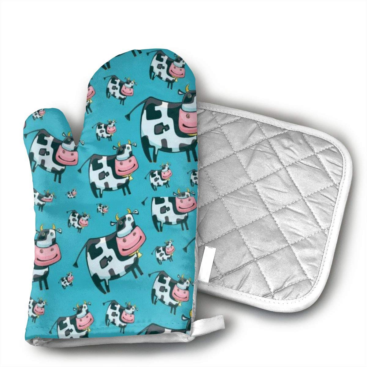 Wiqo9 Cartoon Cow Oven Mitts and Pot Holders Kitchen Mitten Cooking Gloves,Cooking, Baking, BBQ.