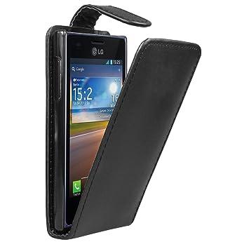Negra Funda de Cuero para LG E610 Optimus L5 - Flip Case Cover + 2 Protectores