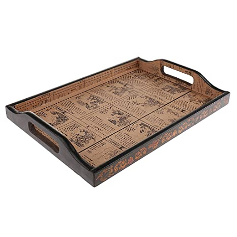 Baoblaze 1pc Vintage Wooden Tray Storage Box Bandeja Wood Solid Food Plate for Home Tableware Accessory