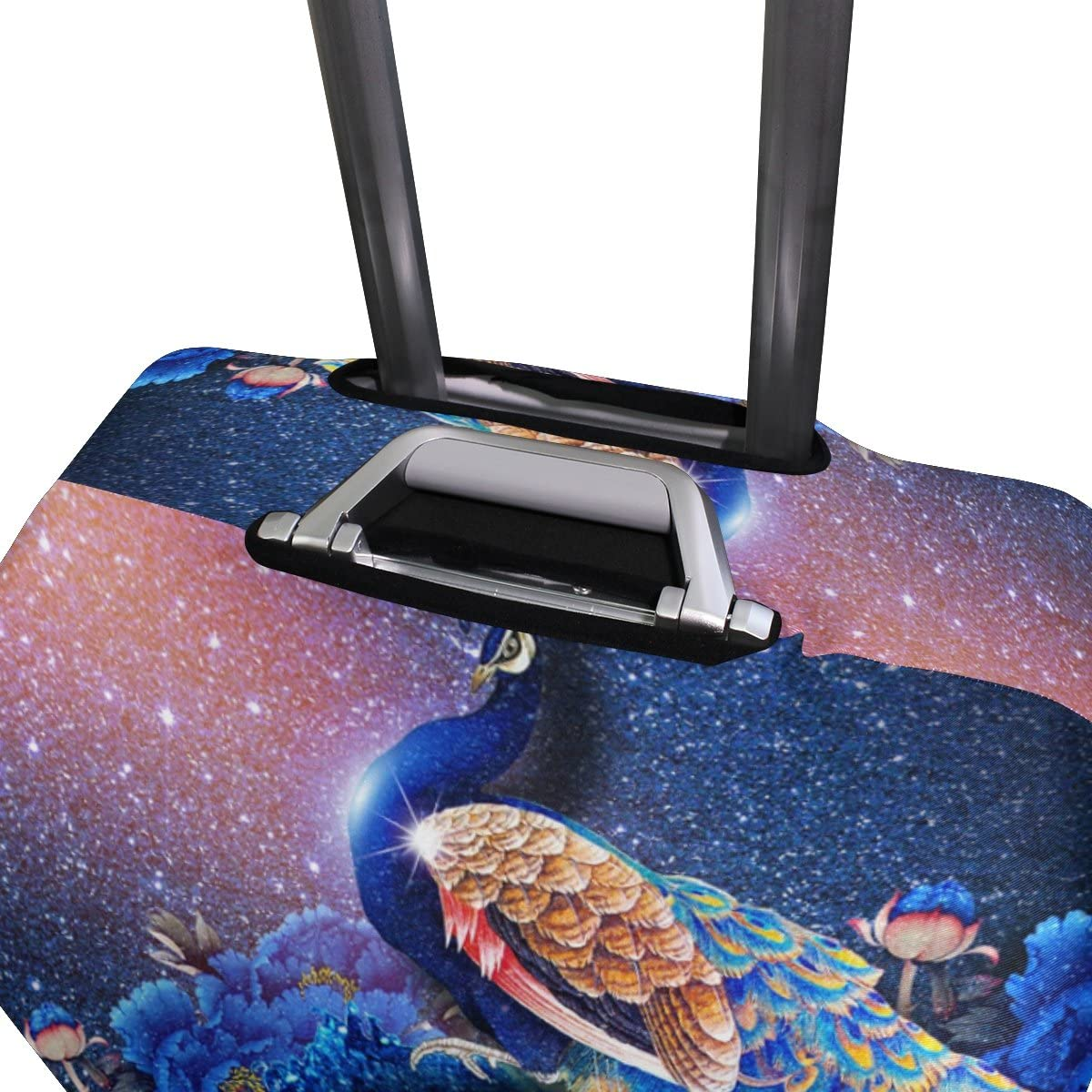 Luggage Protective Covers with Gorgeous Peacock Fantasy Pattern Washable Travel Luggage Cover 18-32 Inch