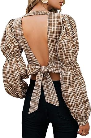 Zandiceno Blusa de Mujer Sexy de Cuadros con Mangas con Espalda Descubierta, Cuello en V, Blusa de Gran tamaño Vintage
