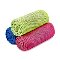 SKL Unisex Instant Ice Gym Quick Dry Microfibre Cooling Sports Towel for Golf Swimming Yago Football Running Workout (Rose Green Blue,36 x 12 Inch), 3 Pack