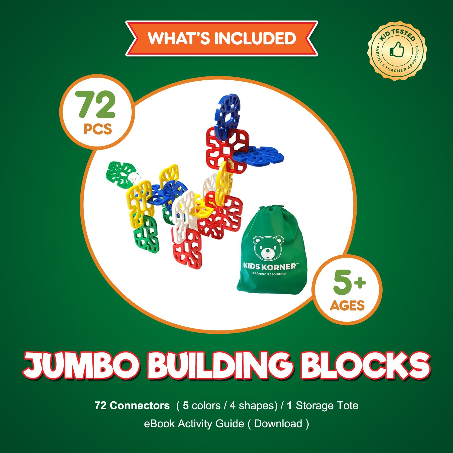 Amazon.com: Jumbo Crazy Creative Connecting and Building Set Early ...