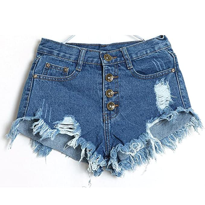 6a720a0a613b Luoluoluo Donna Sexy Corto Jeans, Signore Vintage Vita Alta Jeans Buco  Denim Pantaloncini Caldo Nappe Pantaloni 4 Pulsanti Vicino Club Pantaloncini:  ...