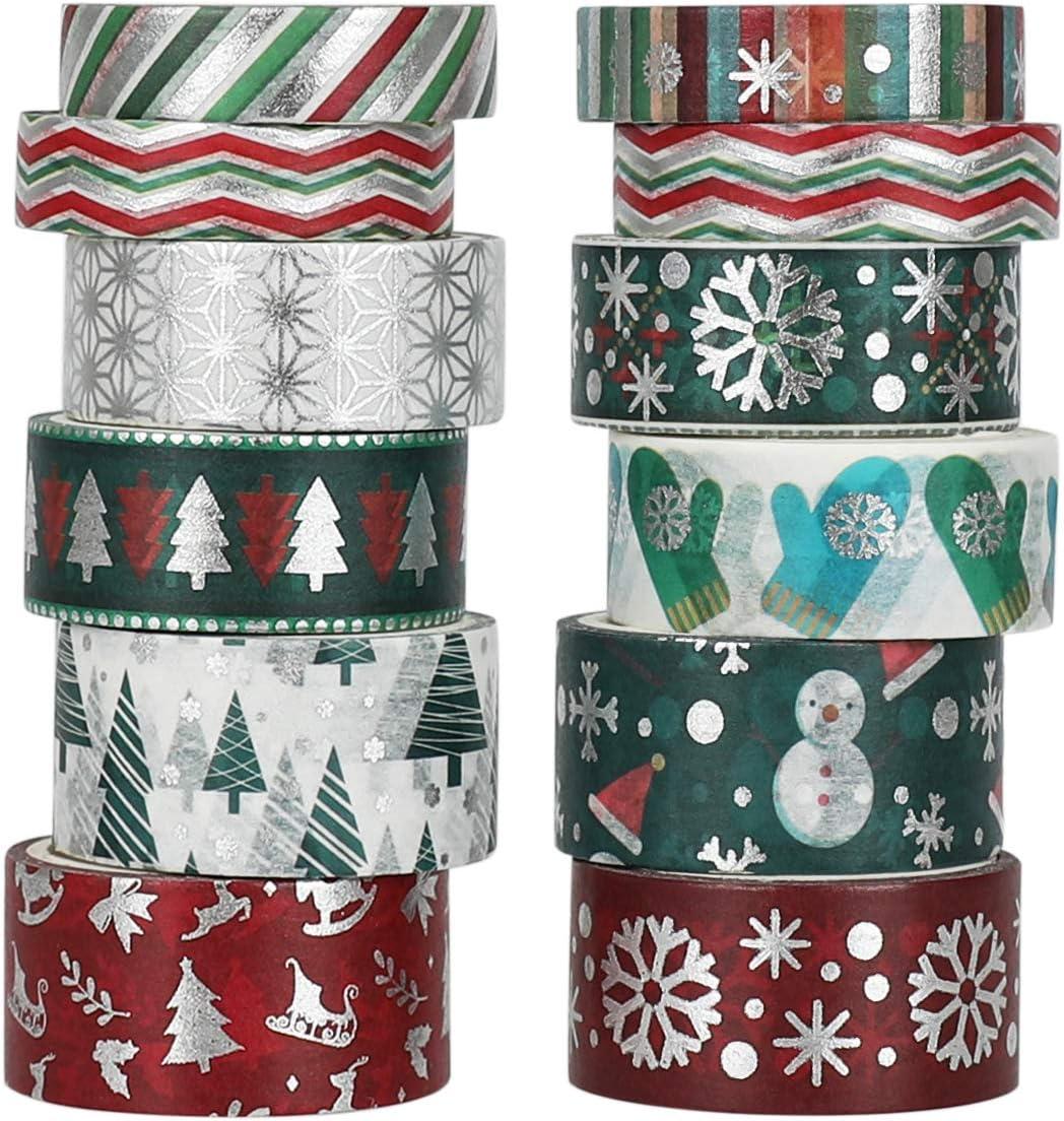cinta washi navidad 12 rollos 3 metros de 10, 15 y 20 mm